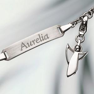 Armband mit Gravur – Silber – mit Engel Charm Anhänger